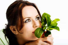 Rapariga que pensa sobre o futuro verde Imagem de Stock Royalty Free