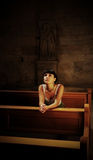 Rapariga que praying na igreja Fotos de Stock Royalty Free