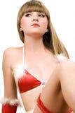 Rapariga quente na roupa interior vermelha do Natal Foto de Stock