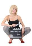 Rapariga 'sexy' com a placa de válvula isolada Fotografia de Stock Royalty Free