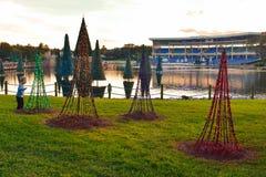 Rapaz pequeno agradável que olha árvores de Natal no fundo do lago e do estádio no por do sol na área internacional da movimentaç foto de stock royalty free