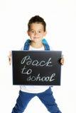 Rapaz pequeno alegre com a trouxa pronta para a escola Imagens de Stock