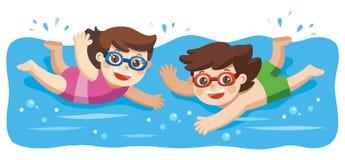 Rapaz pequeno alegre e ativo e natação da menina na natação ilustração royalty free