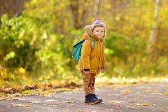 Rapaz pequeno alegre pronto para seu primeiro dia no pré-escolar ou no jardim de infância após férias de verão imagens de stock royalty free