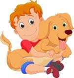 Rapaz pequeno bonito que abraça seu cão de estimação ilustração stock