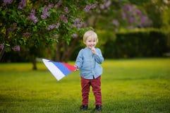 Rapaz pequeno bonito que guarda a bandeira do russo durante o passeio no parque do verão imagens de stock