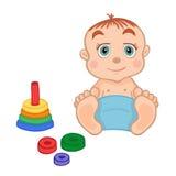 Rapaz pequeno bonito que joga com um brinquedo da pirâmide ilustração stock
