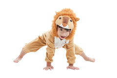 Rapaz pequeno bonito vestido no terno do leão Fotografia de Stock Royalty Free