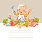 Rapaz pequeno com alimento ilustração royalty free