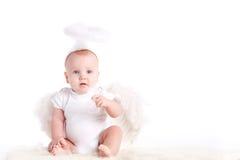 Rapaz pequeno com as asas do anjo, isoladas no fundo branco Fotos de Stock Royalty Free