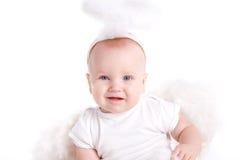Rapaz pequeno com as asas do anjo, isoladas no fundo branco Imagens de Stock Royalty Free