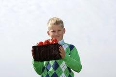 Rapaz pequeno com cesta Fotos de Stock