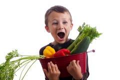 Rapaz pequeno com a cesta de legumes frescos Imagens de Stock Royalty Free