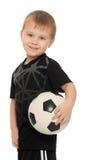 Rapaz pequeno com a criança do futebol ball fotos de stock royalty free