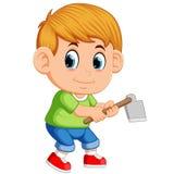 Rapaz pequeno com enxada do jardim ilustração do vetor