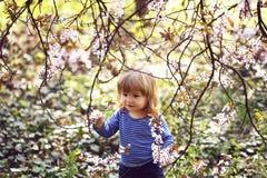 Rapaz pequeno com flor imagem de stock