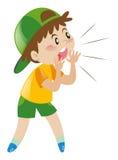 Rapaz pequeno com a gritaria verde do chapéu Imagens de Stock Royalty Free