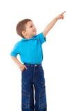 Rapaz pequeno com mão apontando vazia Fotografia de Stock
