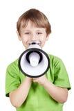 Rapaz pequeno com megafone Fotografia de Stock
