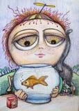 Rapaz pequeno com o desenho dos desenhos animados dos peixes Imagem de Stock Royalty Free