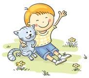 Rapaz pequeno com seu gato Fotos de Stock Royalty Free