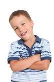 Rapaz pequeno com uma atitude Foto de Stock Royalty Free