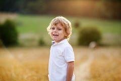 Rapaz pequeno de três anos que têm o divertimento no campo amarelo do feno Imagem de Stock Royalty Free