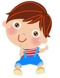 Rapaz pequeno dos desenhos animados com lápis Fotos de Stock Royalty Free