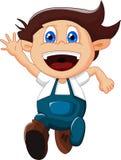 Rapaz pequeno dos desenhos animados que gesticula no fundo branco Fotos de Stock