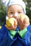 Rapaz pequeno e duas maçãs. Fotografia de Stock Royalty Free