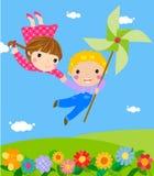 Rapaz pequeno e menina ilustração stock