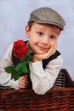 Rapaz pequeno elegante com rosa Imagens de Stock