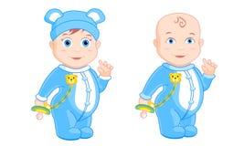 Rapaz pequeno em pijamas azuis Fotografia de Stock
