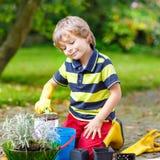 Rapaz pequeno engraçado que jardina e que planta flores no jardim da casa Fotografia de Stock
