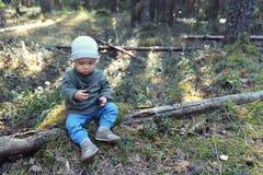 Rapaz pequeno engraçado que joga com os cones do pinho que sentam-se no assoalho Fotografia de Stock