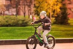 Rapaz pequeno feliz que monta uma bicicleta Foto de Stock Royalty Free