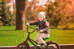 Rapaz pequeno feliz que monta uma bicicleta Foto de Stock