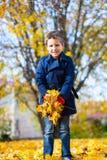 Rapaz pequeno fora em um dia do outono Foto de Stock Royalty Free