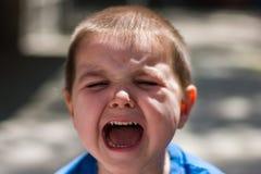 Rapaz pequeno irritado com a expressão triste, gritando e gritando imagens de stock royalty free