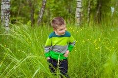 Rapaz pequeno na grama verde Imagem de Stock