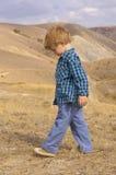 Rapaz pequeno na montanha do verão Imagens de Stock Royalty Free