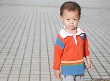 Rapaz pequeno na terra fotos de stock royalty free