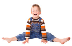 Rapaz pequeno no assoalho Imagens de Stock