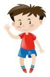 Rapaz pequeno no cumprimento vermelho olá! Imagem de Stock Royalty Free