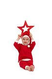 Rapaz pequeno no desgaste de Santa com estrela Imagens de Stock Royalty Free