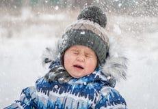Rapaz pequeno no dia nevado que joga bolas de neve imagens de stock royalty free