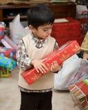 Rapaz pequeno no Natal Imagens de Stock