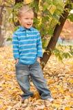 Rapaz pequeno no parque do outono. Imagens de Stock Royalty Free