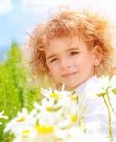 Rapaz pequeno no prado da margarida Fotos de Stock Royalty Free