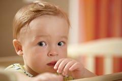 Rapaz pequeno, olhar do medo Fotografia de Stock Royalty Free